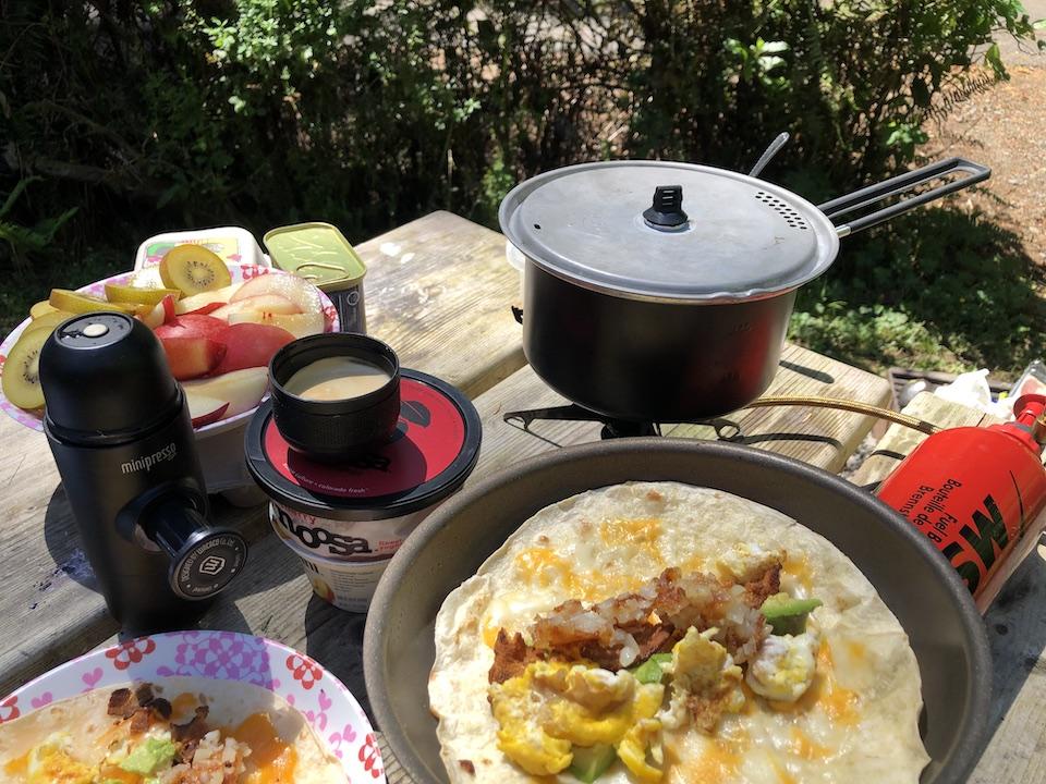 Camping sumptuous breakfast