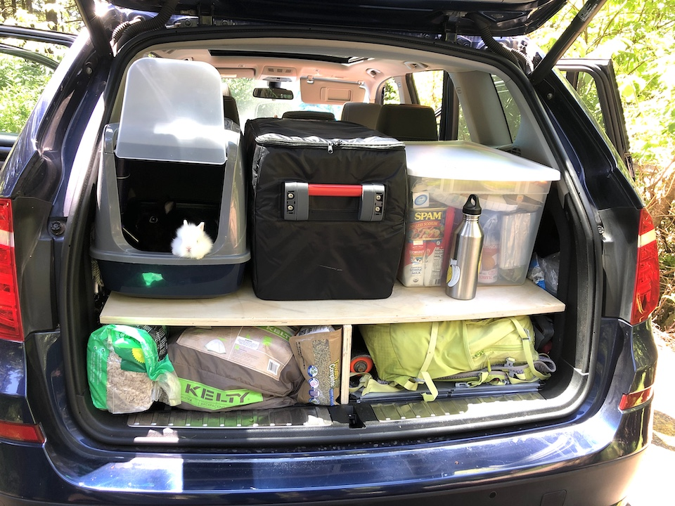 a packed car for the Geoduck Clam quest