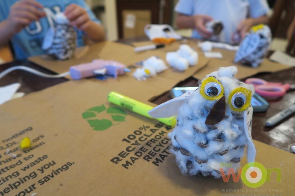 working on snowy owl craft