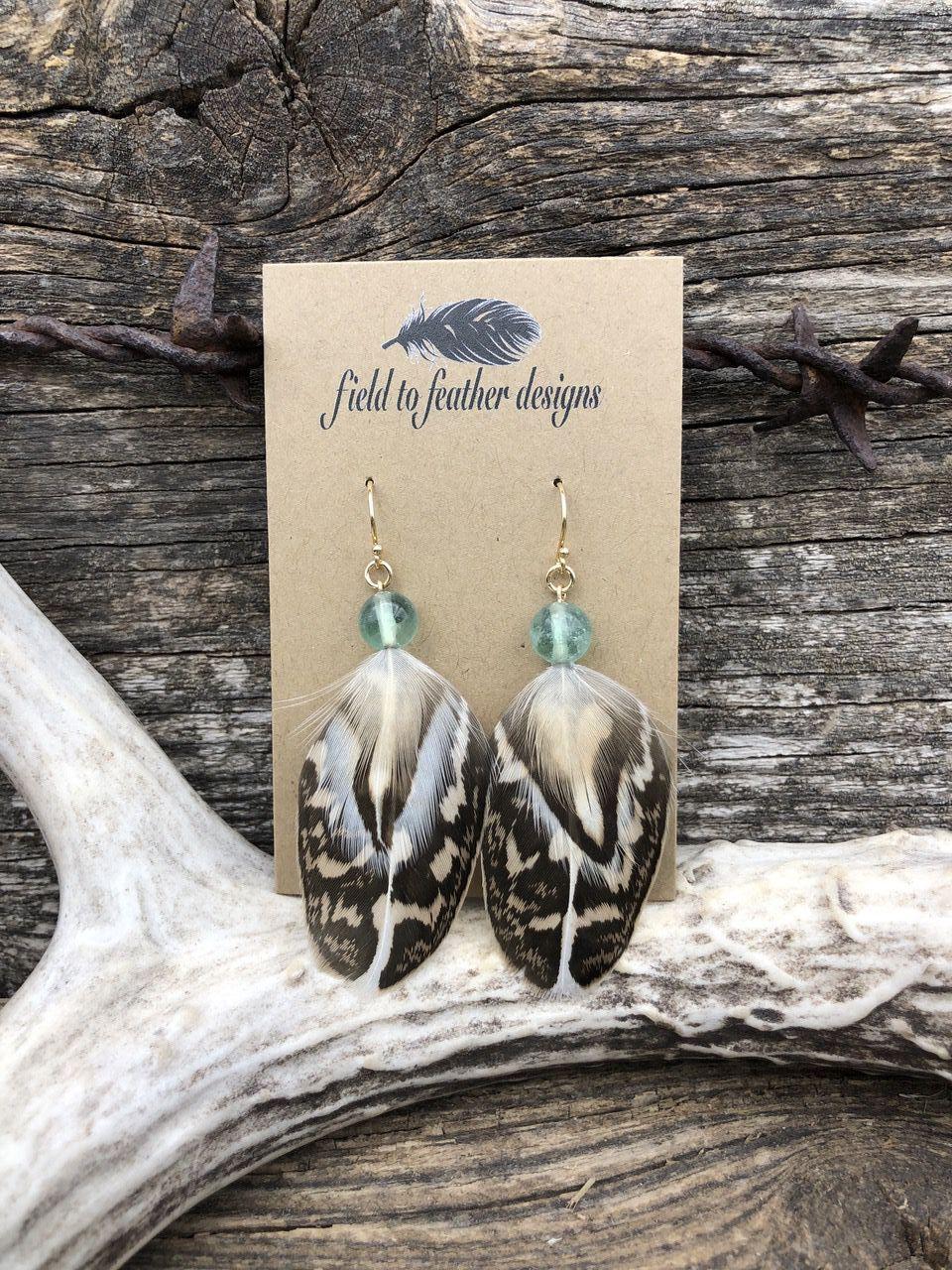 Flourite Field to Feather earrings
