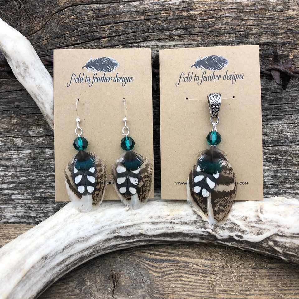 field to feather earrings pair