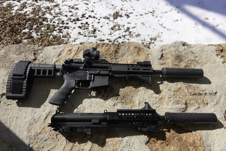 AR pistol with 300 Blk upper mounted and Omega 300, and 556 upper separated and Saker 556 ASR