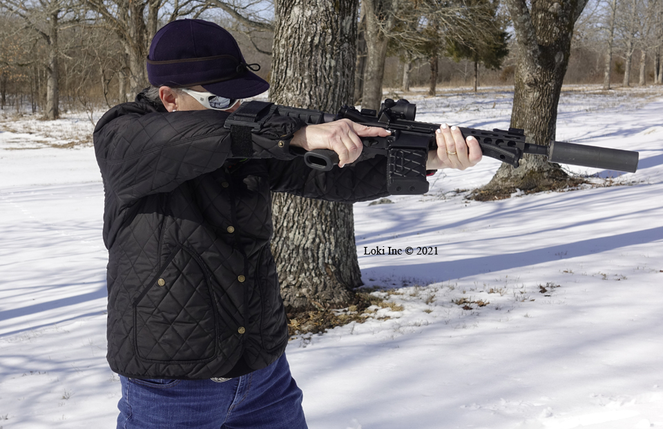 Barb with AR pistol 3 ready to fire using brace