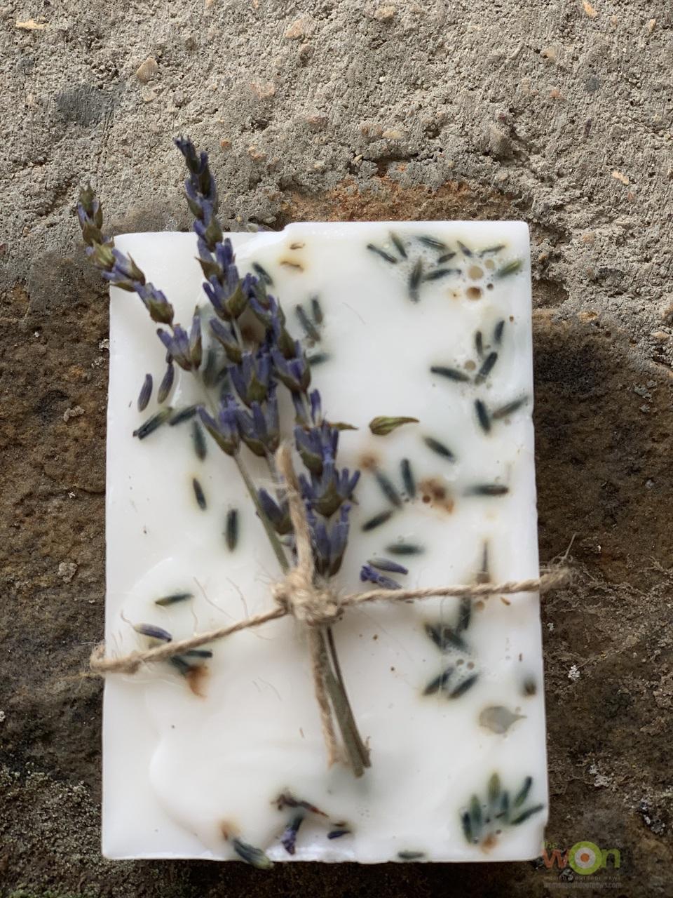 DIY lavender soap bar with lavender