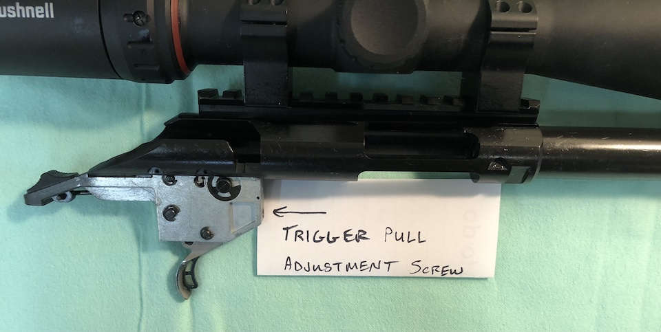 Trigger Adjustment Screw on Ruger American Rimfire Long Range Target Rifle