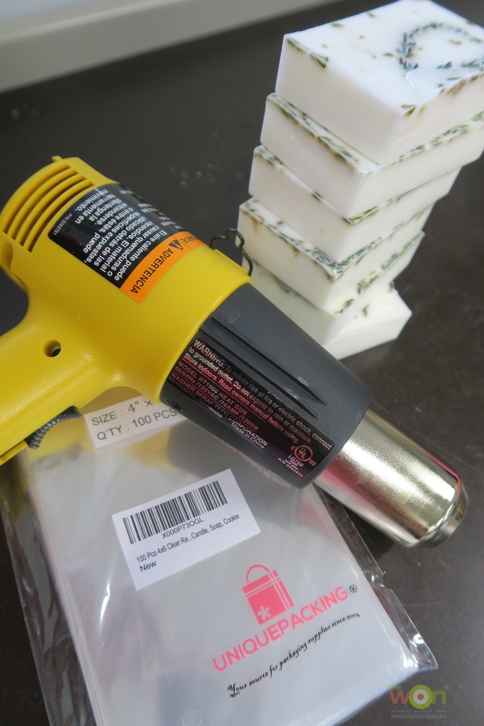 heat gun with soap and wrappers