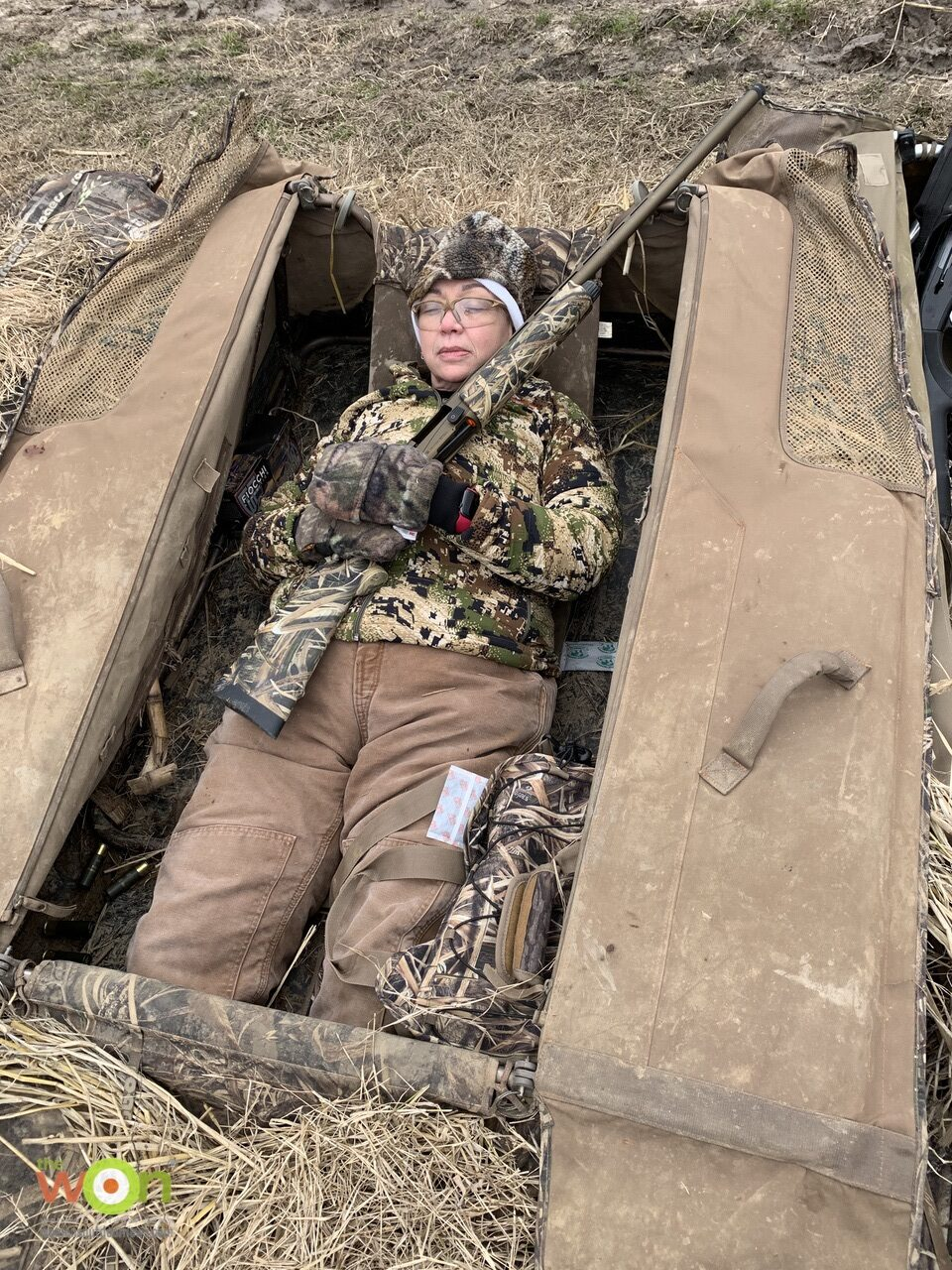 Babbs in the layout blind on the Arkansas Goose Hunt