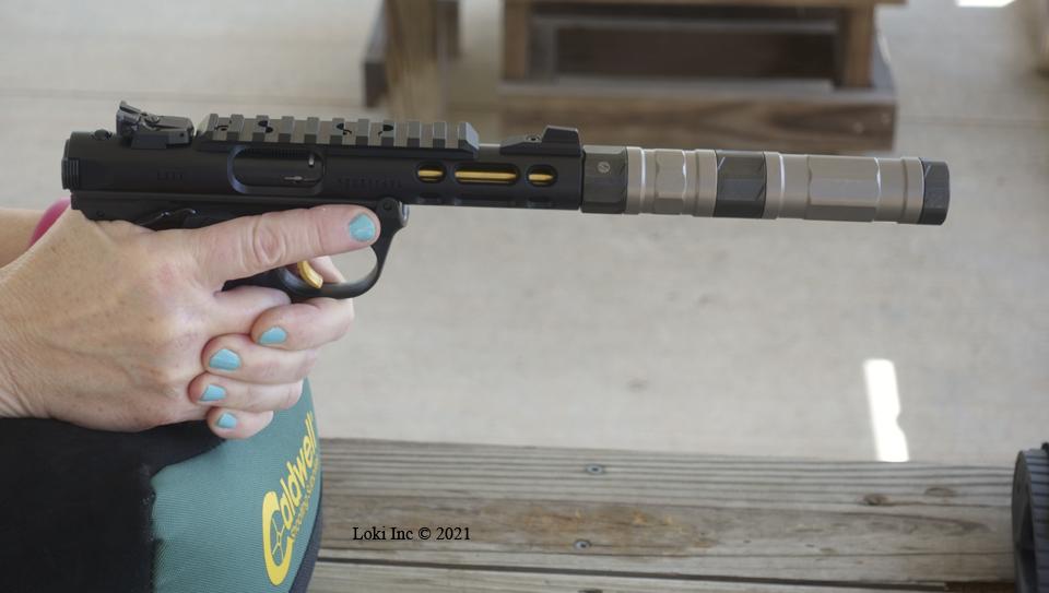 Barb shooting Ruger Mk4 Lite with Switchback suppressor