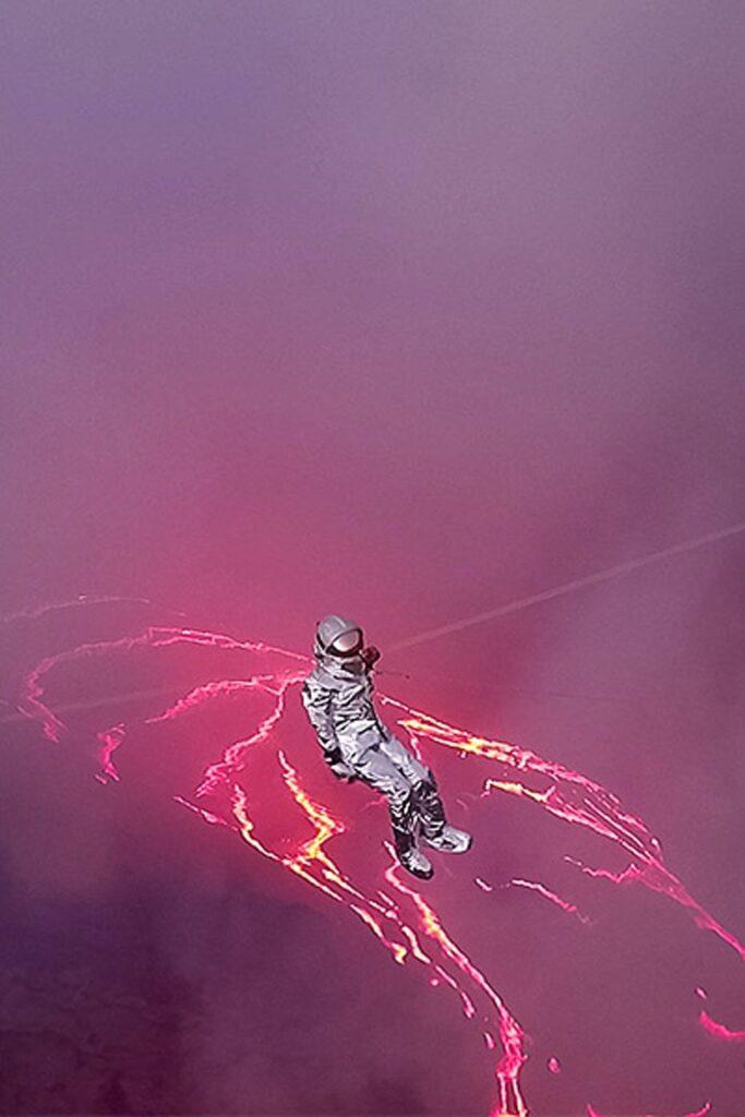 Karina Oliani traverses lava lake