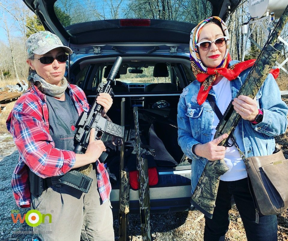 Thelma and Louise with guns on an Arkansas Goose Hunt