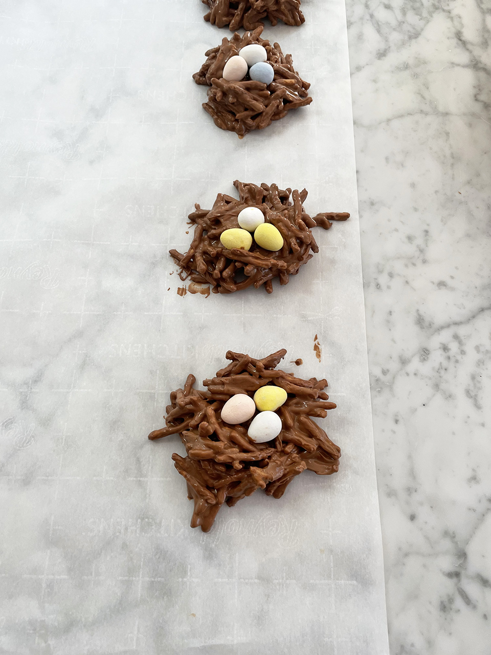 Adding Cadbury Mini Eggs to Nests
