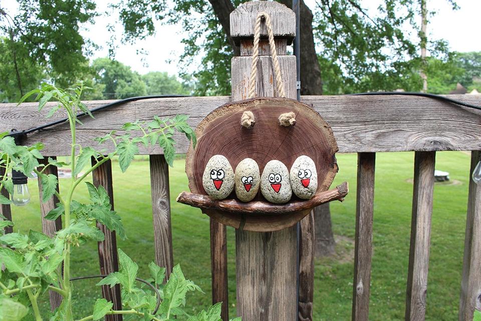 Hanging Bird Rock Craft Finished Jessica White