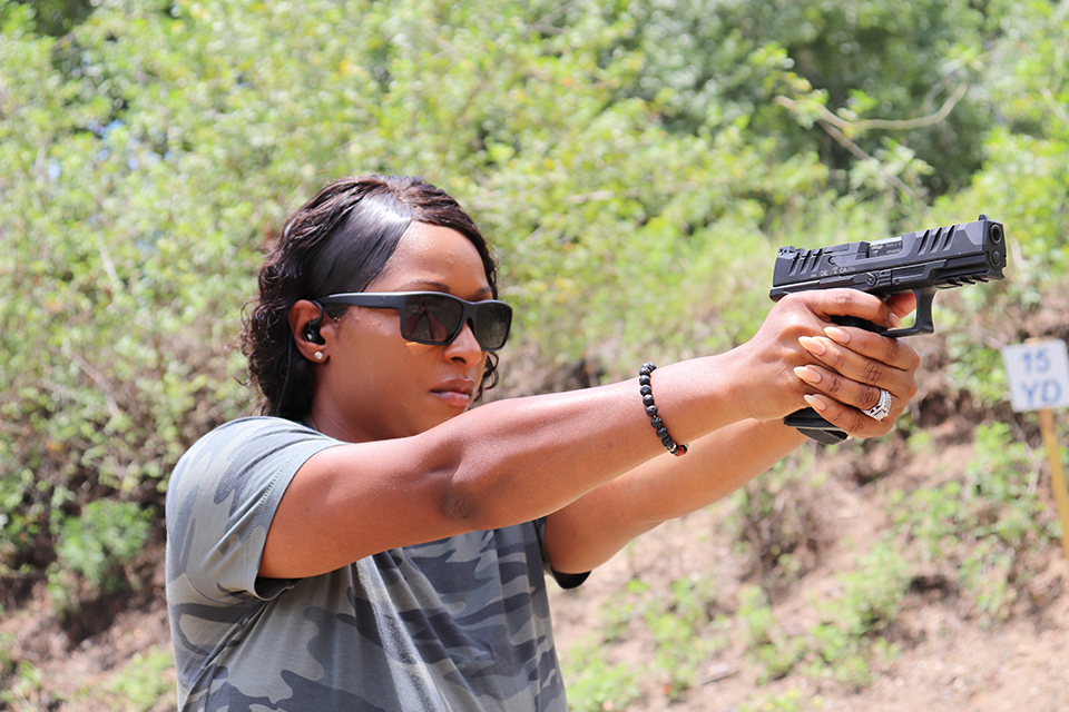 Avery Skipalis shooting Walther PDP Compact 4 in
