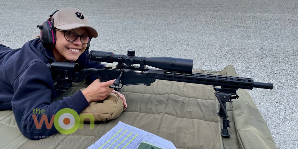 Fellow firefighter Lisa Hasting rocking her first precision rifle lesson with the Ruger 22 RPR