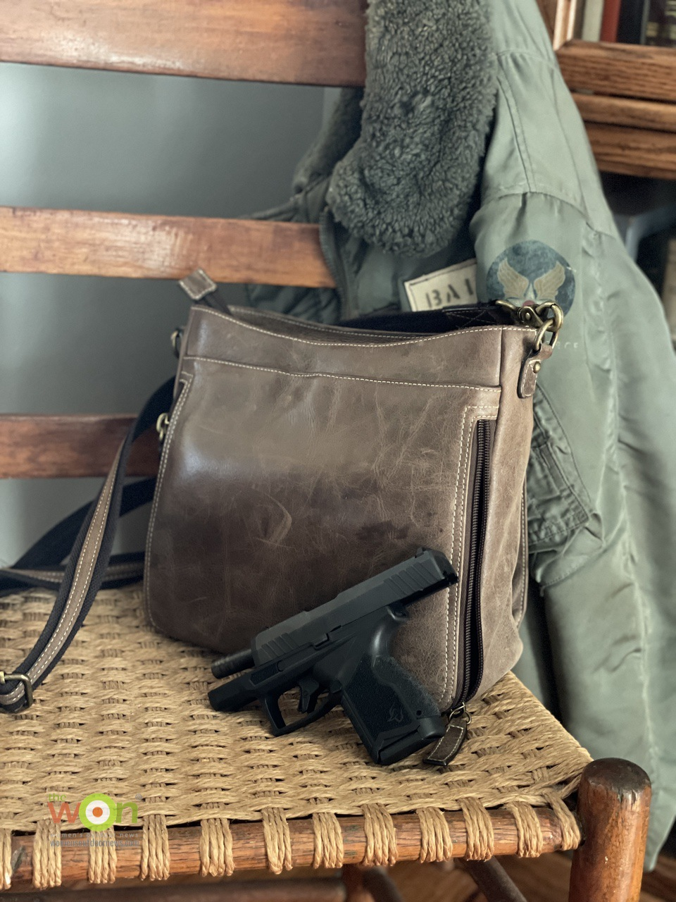 Taurus GX4 and GTM distressed leather slim X-body purse