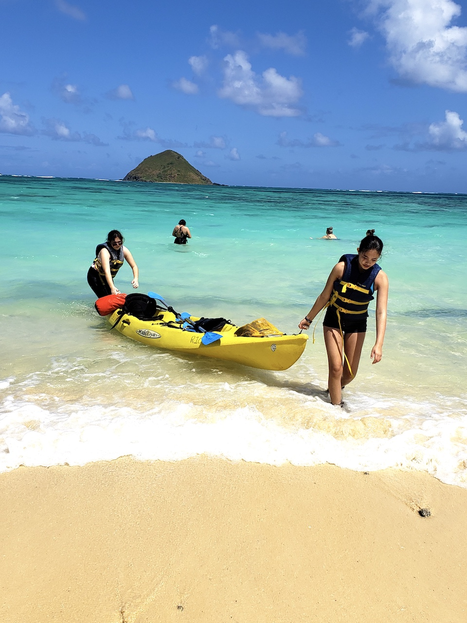 Mia & Aly returning from the kayaking trip