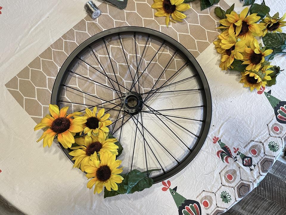 Getting started on my Upcycled Bike Wheel Wreath