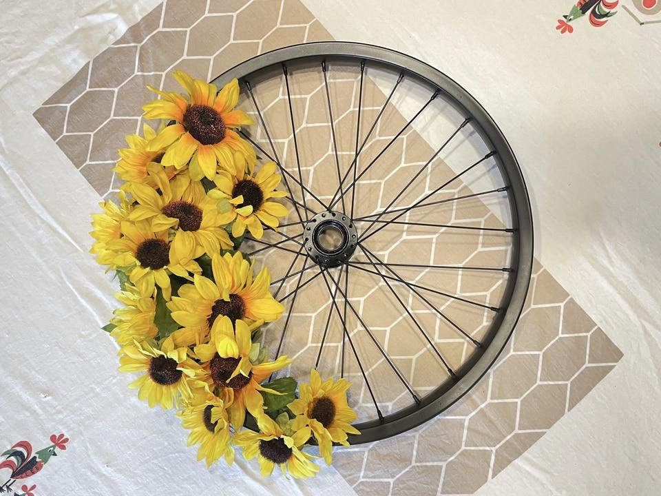 Sunflowers finished on Upcycled Bike Wheel Wreath