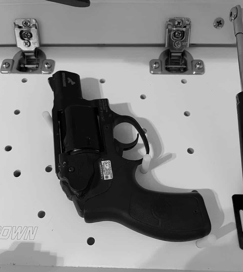 Firearm on pegs