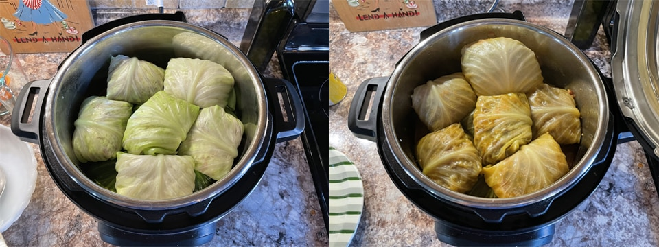 Cabbage Rolls Before and After Cooking
