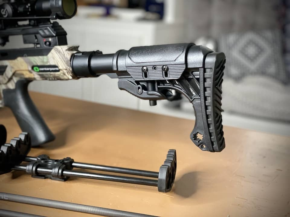Easy to adjust stock and cheek piece allow you to fit the CenterPoint