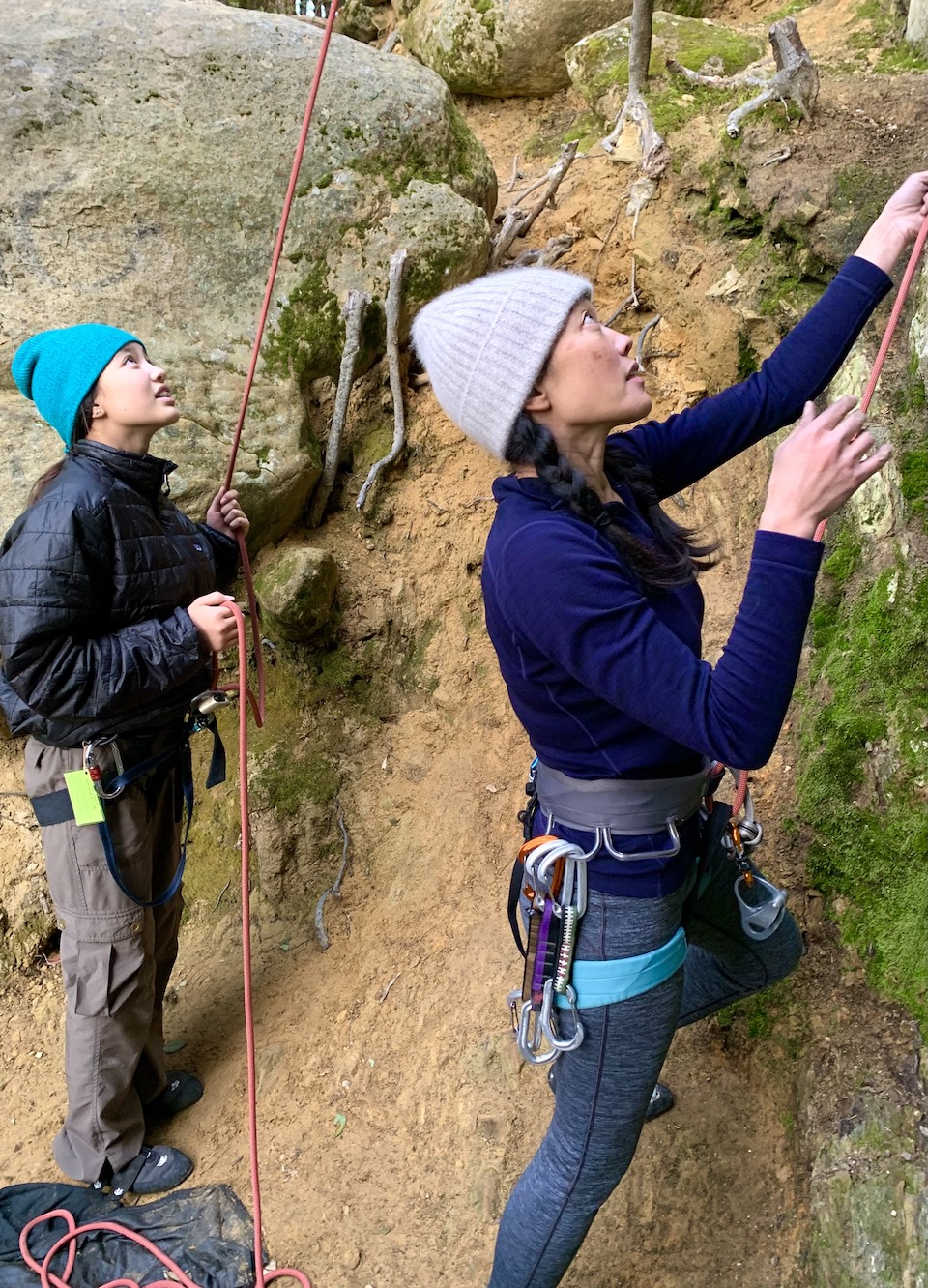 Shane and her daughter rock climbing