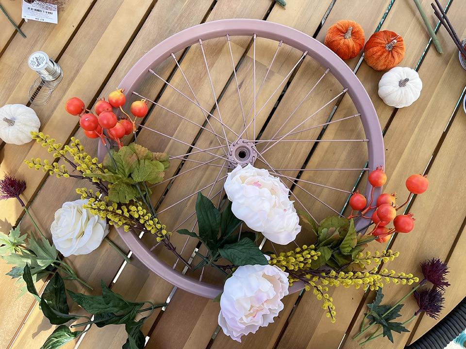 Bike Wheel adding flowers