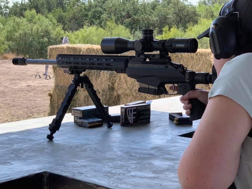 lady sighting rifle