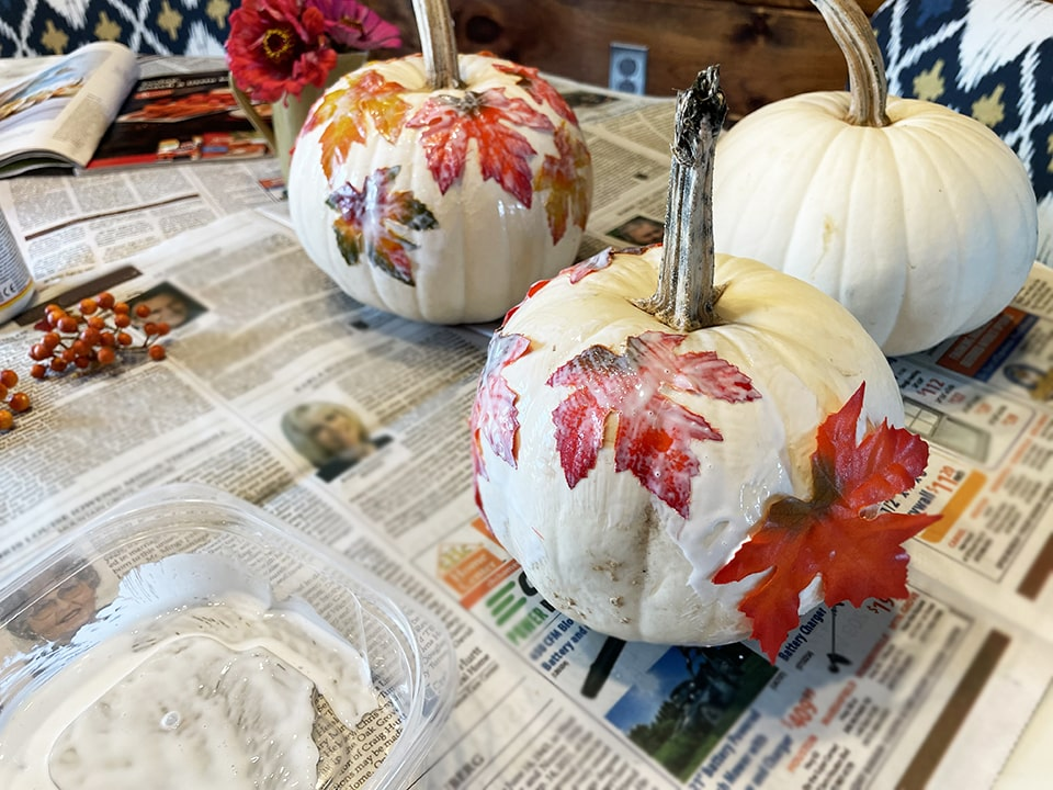 Adding leaves to second pumpkin