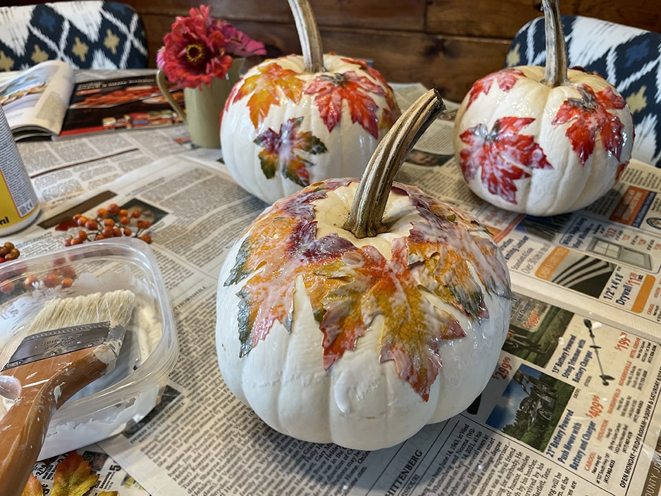 First layer of leaves done third pumpkin