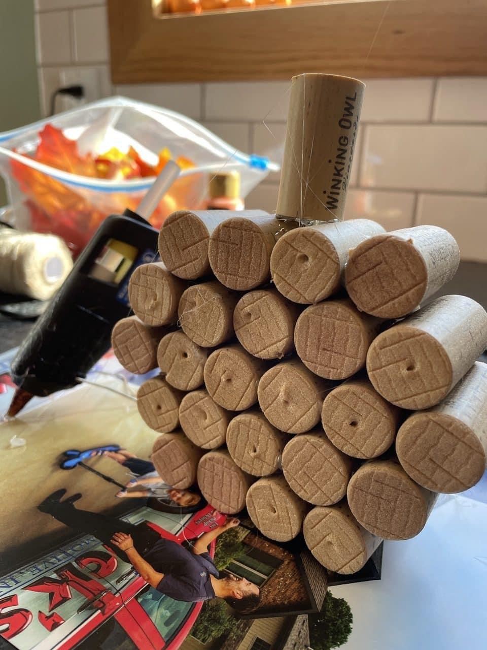 assembling wine corks