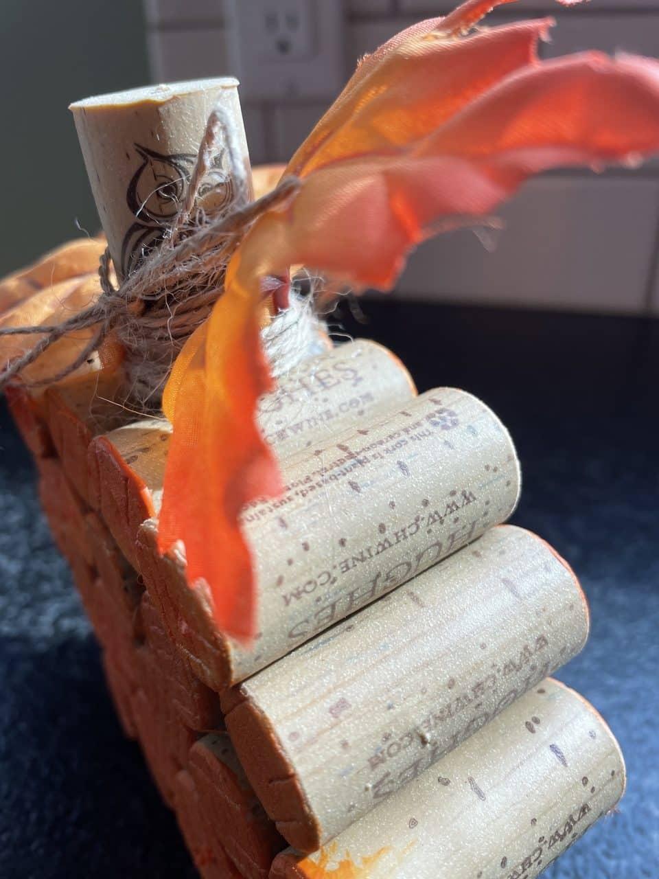 side view of wine cork pumpkin