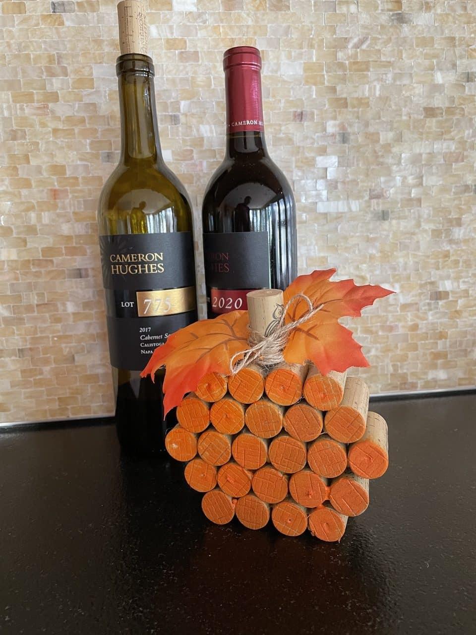 wine cork pumpkin and wine bottles